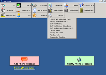 Contractor Management System : Main Menu